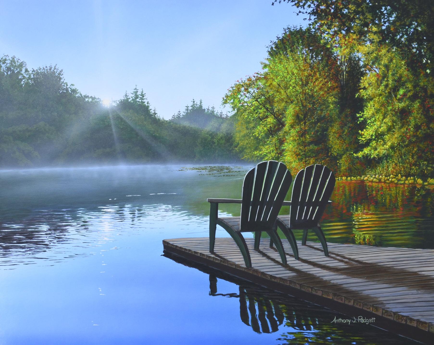 Lake with Adirondacks